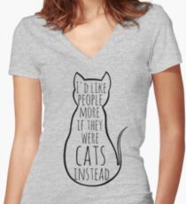 I'd like people more if they were cats instead Women's Fitted V-Neck T-Shirt