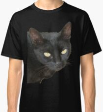 Photograph Of Jet Black Cat With Yellow Eyes Classic T-Shirt