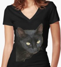 Photograph Of Jet Black Cat With Yellow Eyes Women's Fitted V-Neck T-Shirt