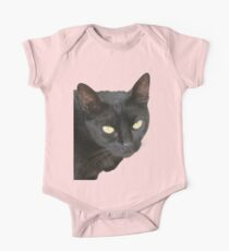 Photograph Of Jet Black Cat With Yellow Eyes Kids Clothes