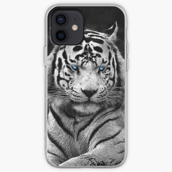 Siberian White tiger blue eyes iPhone Soft Case