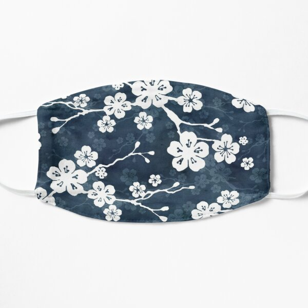 Navy and white cherry blossom pattern Mask