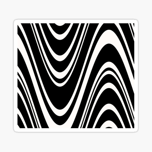 Black and white waves Sticker