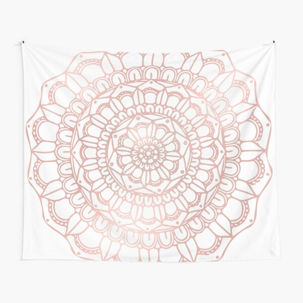 Rose Gold Hand Drawn Boho Mandala Tapestry