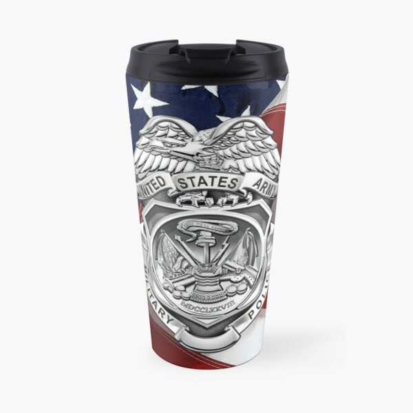 U.S. Army Military Police Corps - Army MP Badge over American Flag Travel Mug