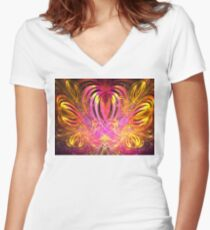 Sun Hearts Women's Fitted V-Neck T-Shirt