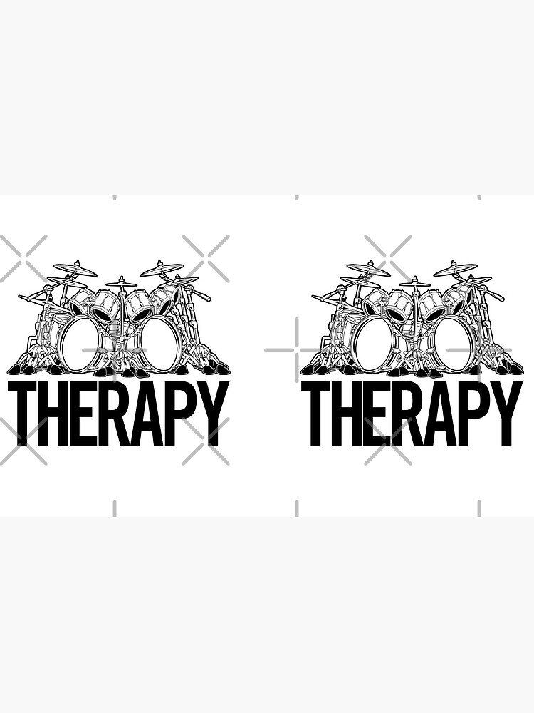 Drummers Therapy Drum Set Cartoon Illustration by hobrath