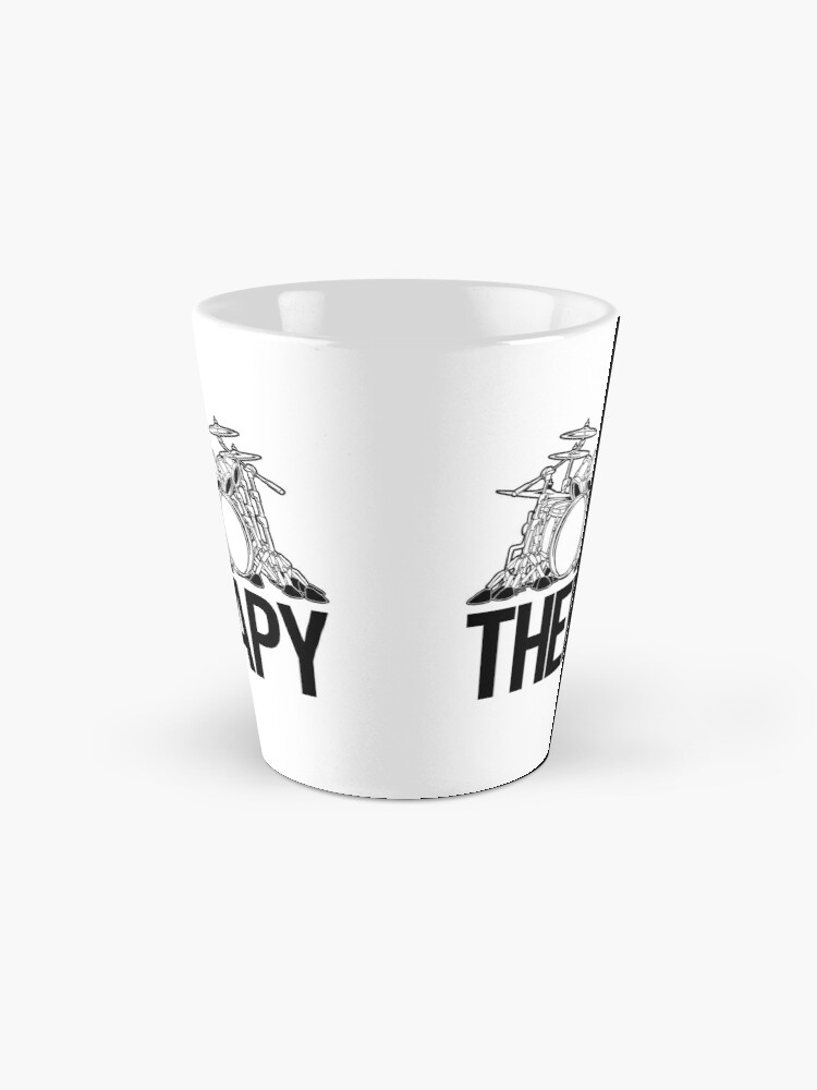 Alternate view of Drummers Therapy Drum Set Cartoon Illustration Mug
