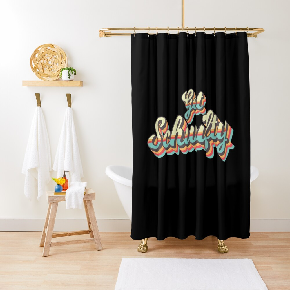 Get Schwifty from Rick and Morty ™ Retro 70s Letters Shower Curtain
