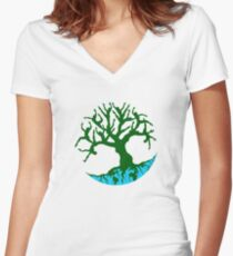 GROW Oxfam Tshirt - Tree of Life Women's Fitted V-Neck T-Shirt