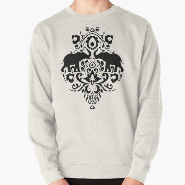 Elephant Damask Black and White Pullover Sweatshirt