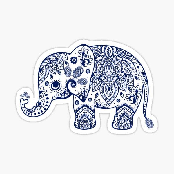 Illustration d'éléphant floral bleu Sticker