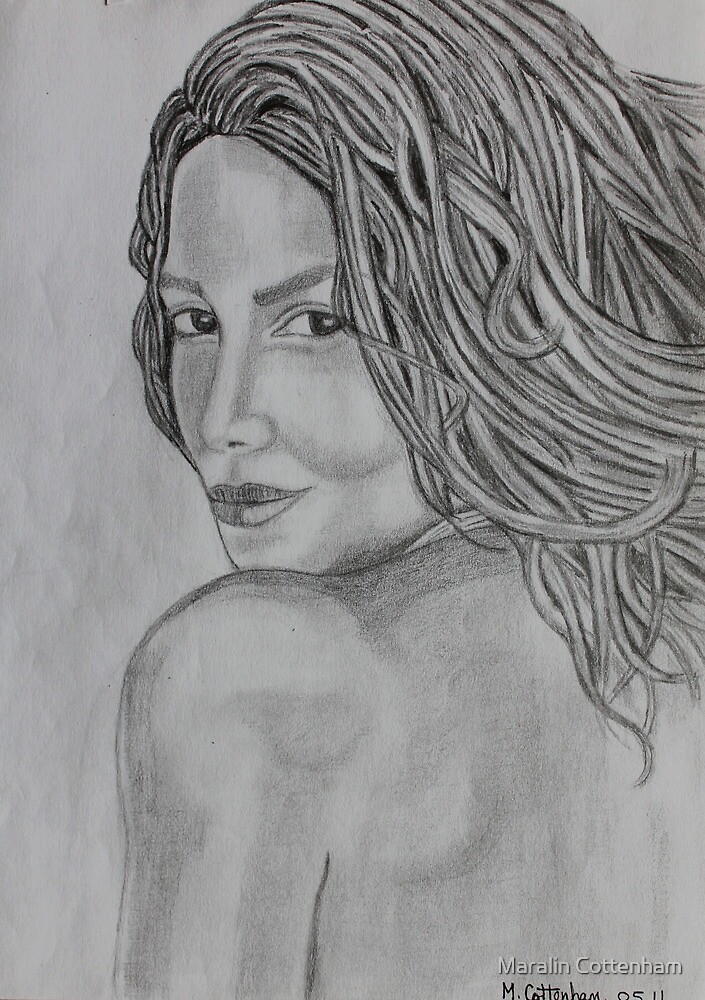 Original pencil drawing of Halle Berry by Maralin Cottenham