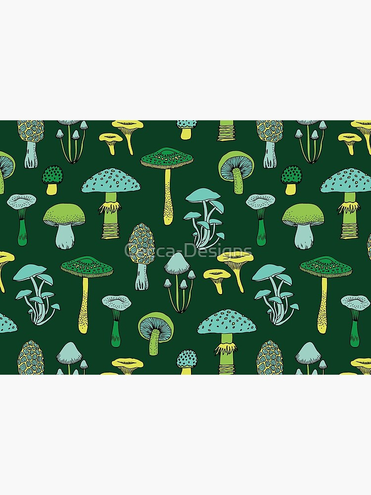 Midnight Mushrooms - Green - fun fungus pattern by Cecca Designs by Cecca-Designs