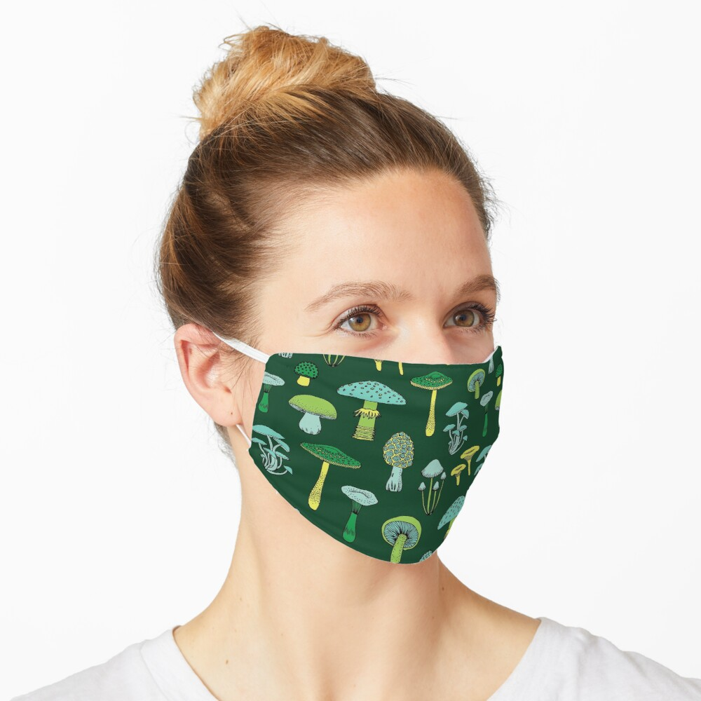 Midnight Mushrooms - Green - fun fungus pattern by Cecca Designs Mask