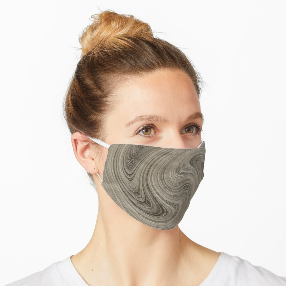 Cinerous And Taupe Wood Swirls Pattern Mask