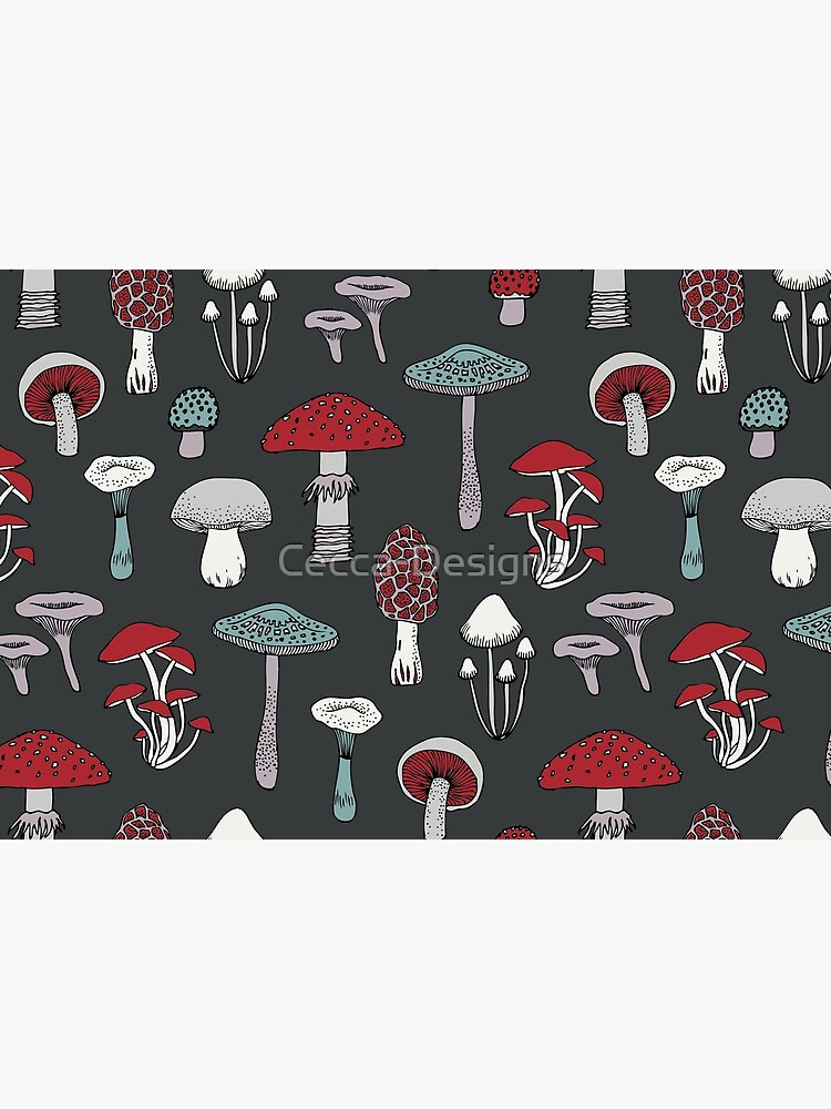 Midnight Mushrooms - fun fungus pattern by Cecca Designs by Cecca-Designs