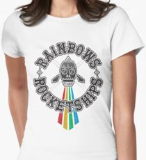 Rainbows Rocketships Womens Fitted T-Shirt