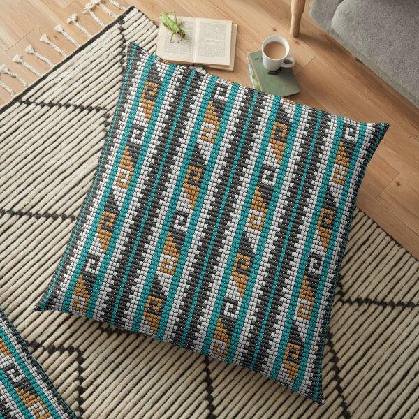 Southwestern beaded bohemian aztec motif dark Floor Pillow