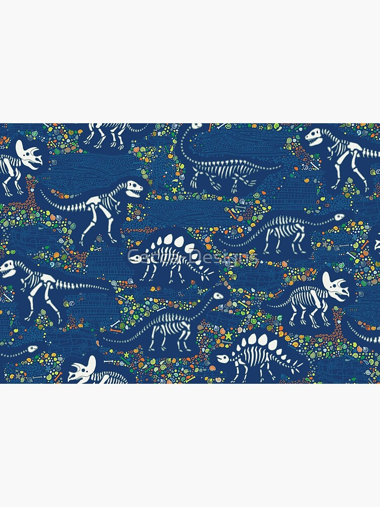 Dinosaur Fossils - Blue - Fun graphic pattern by Cecca Designs by Cecca-Designs