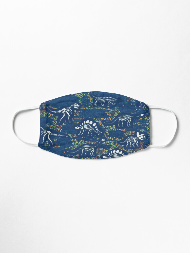 Alternate view of Dinosaur Fossils - Blue - Fun graphic pattern by Cecca Designs Mask