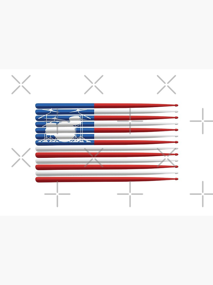American Drummer Flag with Drum Kit and Drum Sticks by hobrath