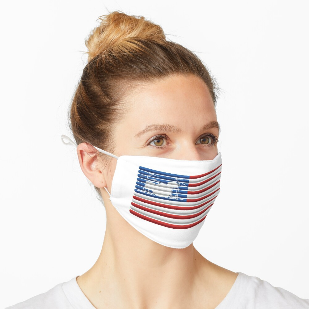 American Drummer Flag with Drum Kit and Drum Sticks Mask