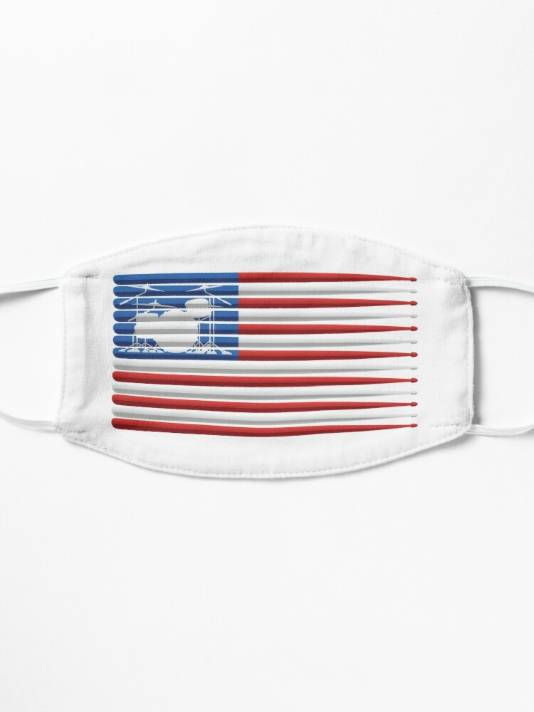 Alternate view of American Drummer Flag with Drum Kit and Drum Sticks Mask