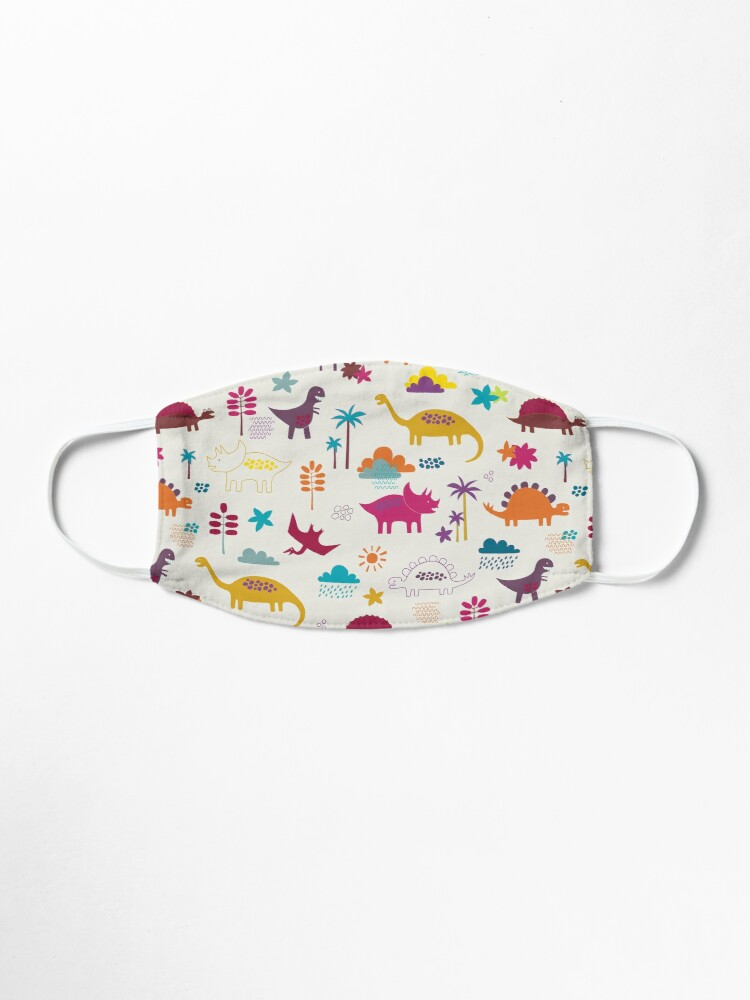 Alternate view of Dinosaur Land - Sunshine Brights - cute Dino pattern by Cecca Designs Mask