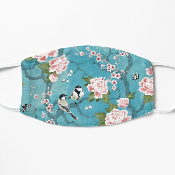 Chinoiserie birds in turquoise blue Flat Mask