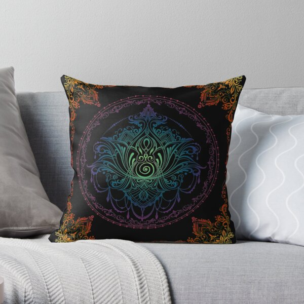 Lotus Goddess in Technicolor Dreamscape Throw Pillow