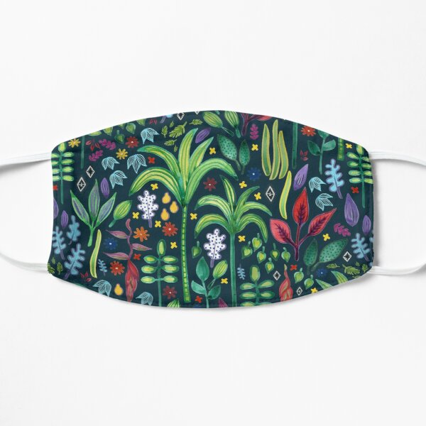 Jungle Flora - watercolour pattern by Cecca Designs Mask