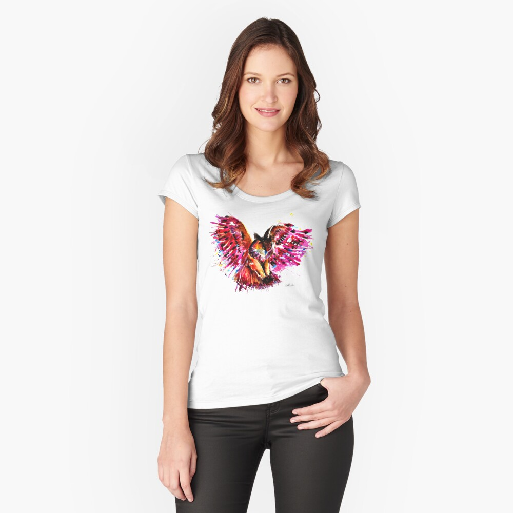 Flying Owl Fitted Scoop T-Shirt