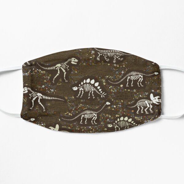 Dinosaur Fossils - cream on brown - Fun graphic pattern by Cecca Designs Mask