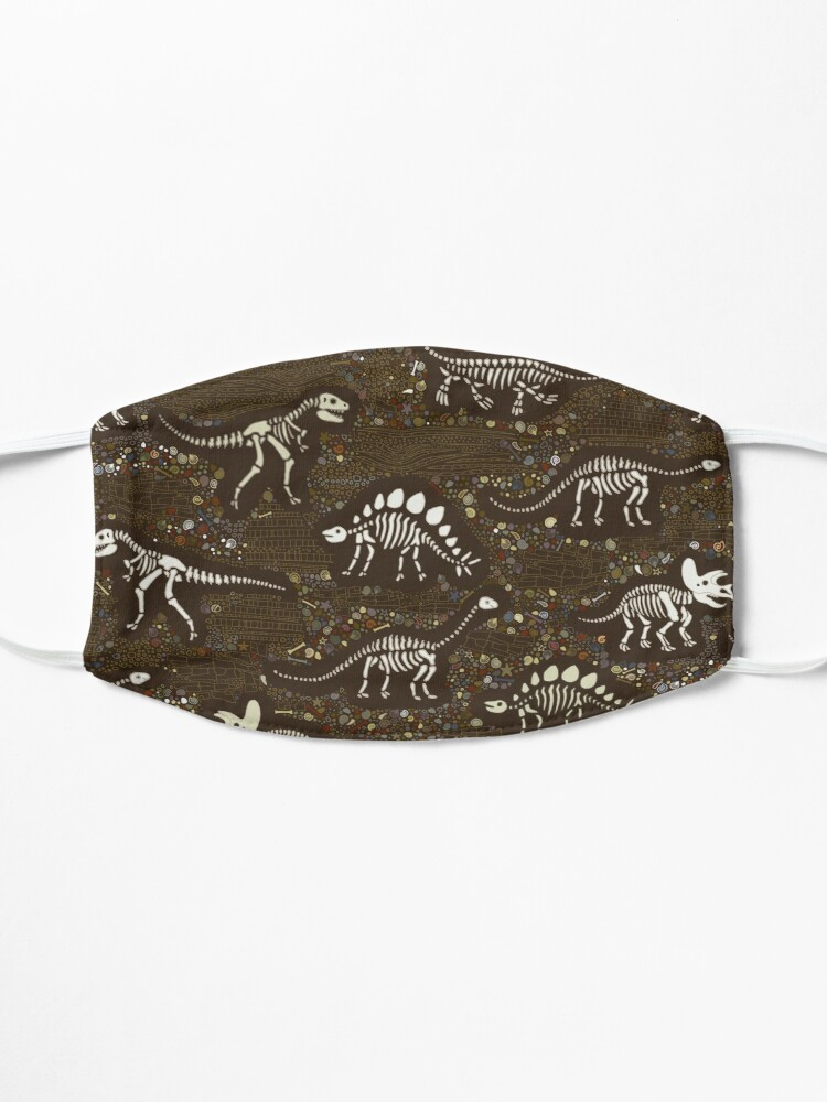 Alternate view of Dinosaur Fossils - cream on brown - Fun graphic pattern by Cecca Designs Mask