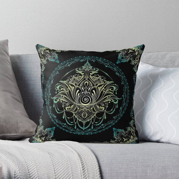 Lotus Goddess in Elvish Blue Throw Pillow
