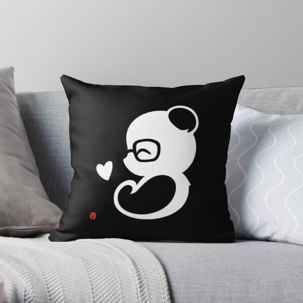 Panda Silhouette Portrait Throw Pillow