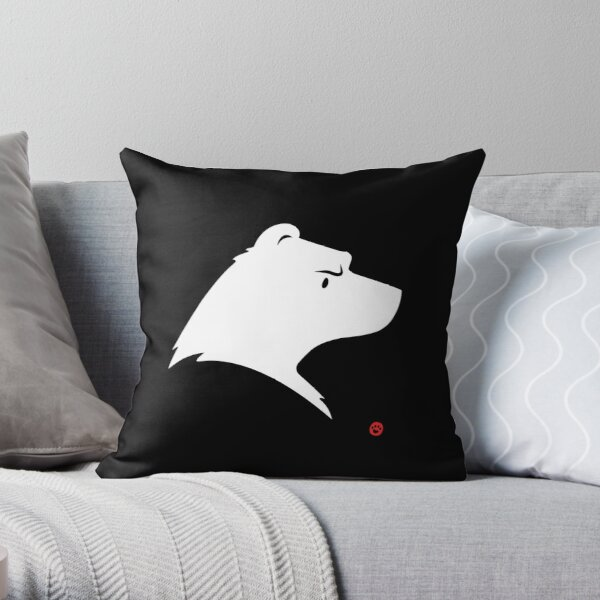 Polar Bear Silhouette Portrait Throw Pillow