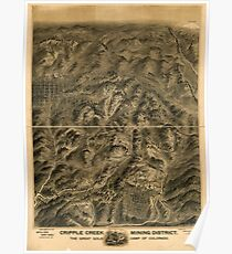Panoramic Maps Cripple Creek mining district the great gold camp of Colorado Poster