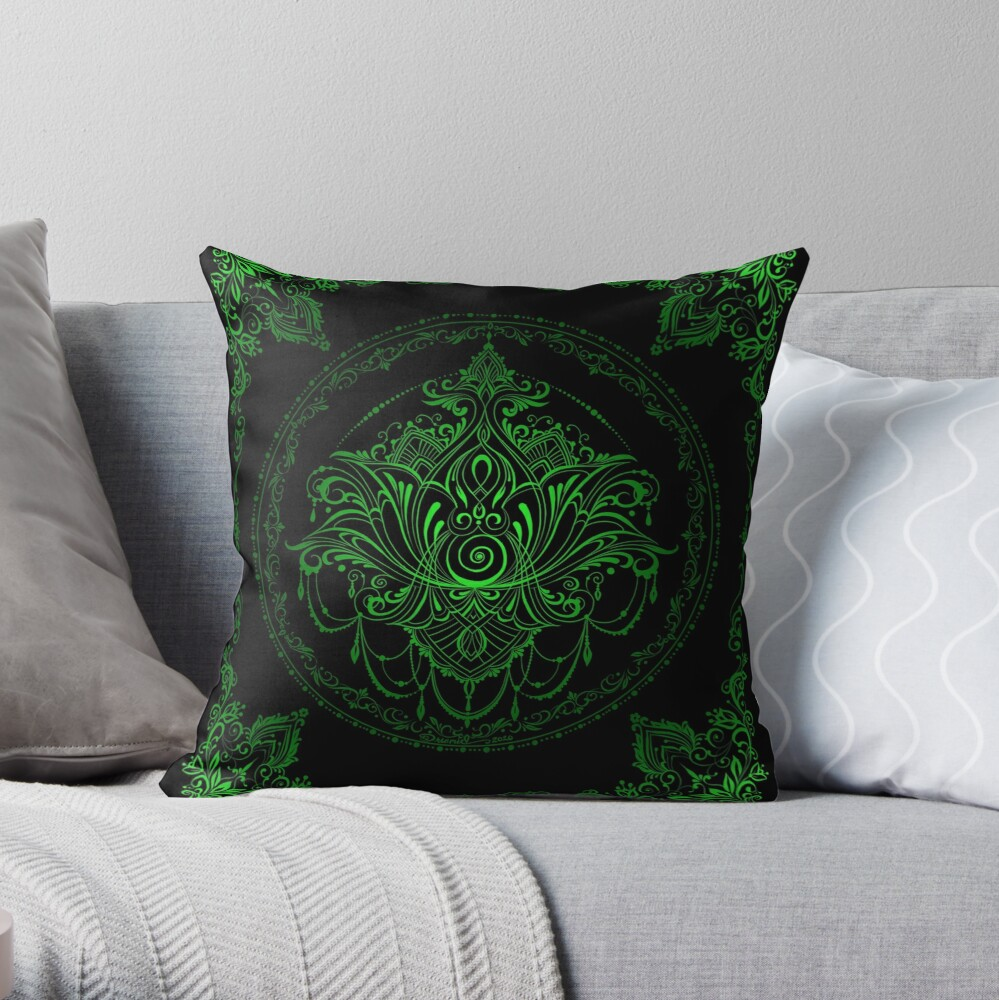 Lotus Goddess in Electric Green Throw Pillow