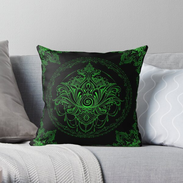 Lotus Goddess in Electric Green Throw Pillow