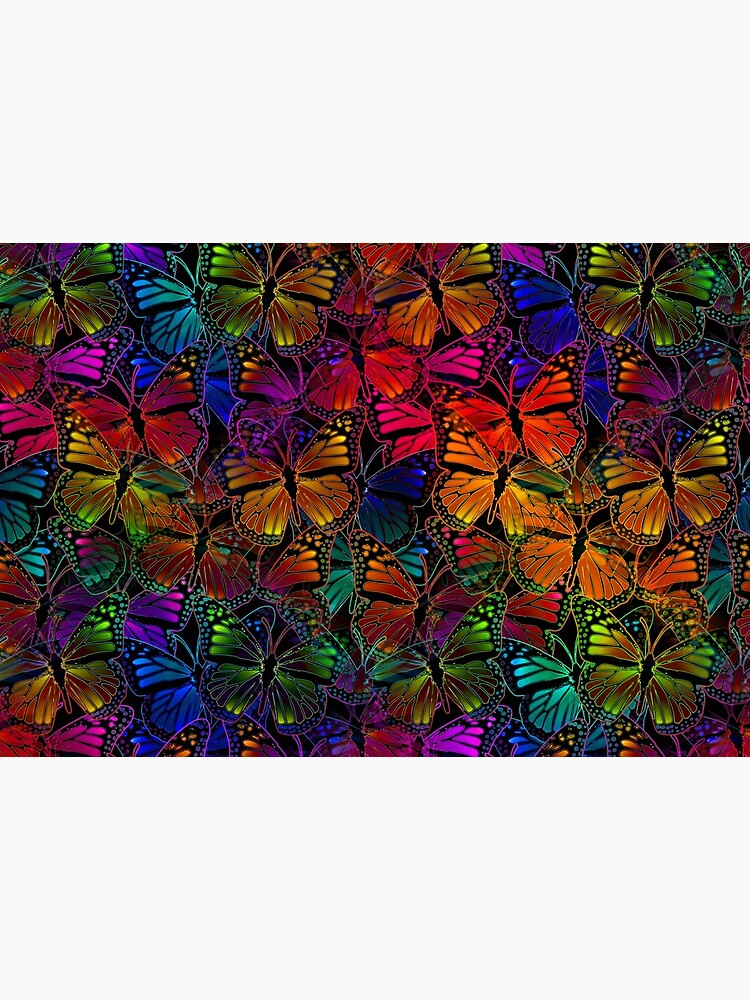 Rainbow Colorful Monarch Butterfly Collage Pattern by RootSquare