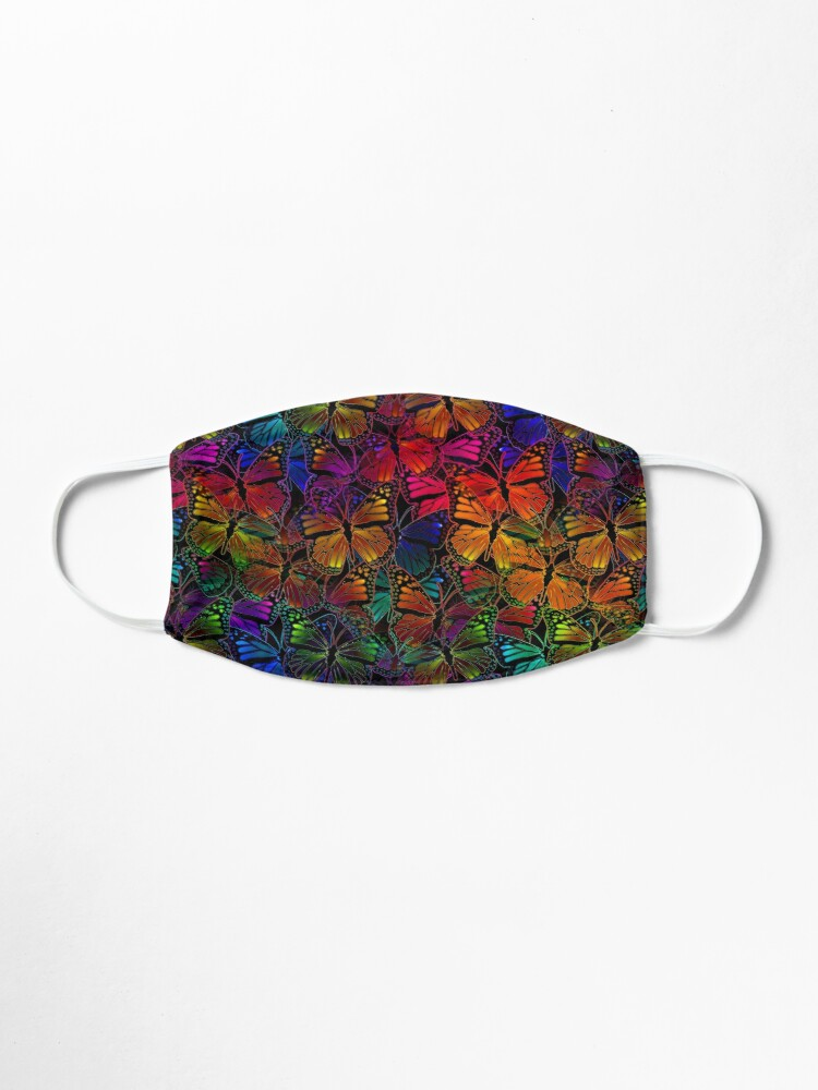 Alternate view of Rainbow Colorful Monarch Butterfly Collage Pattern Mask