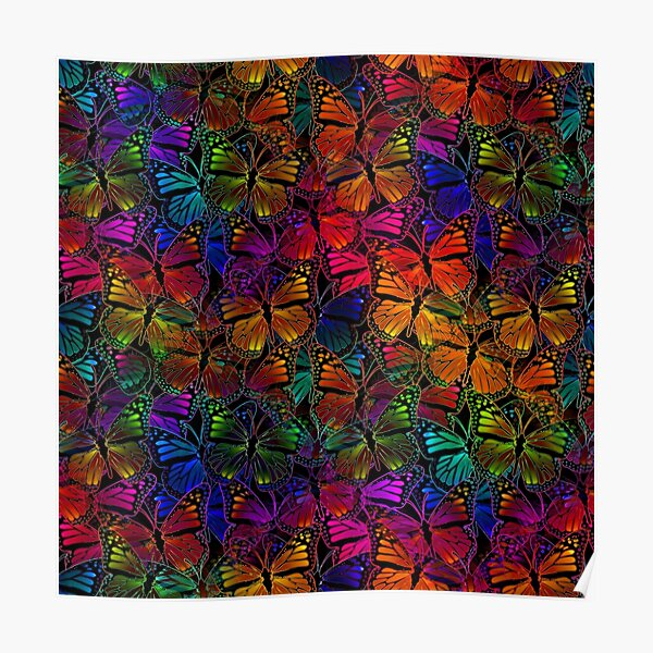 Rainbow Colorful Monarch Butterfly Collage Pattern Poster