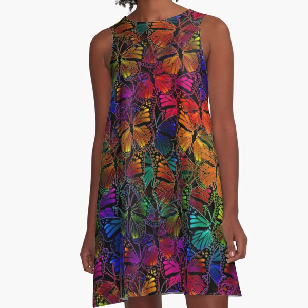 Rainbow Colorful Monarch Butterfly Collage Pattern A-Line Dress