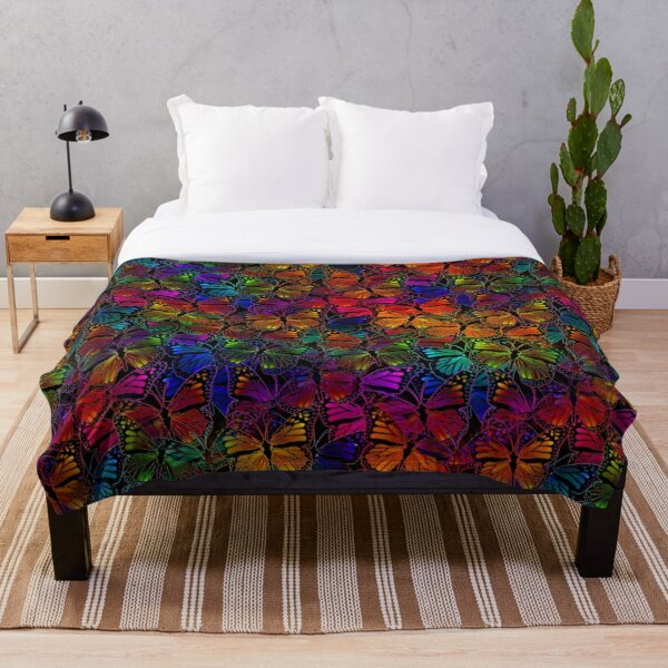 Rainbow Colorful Monarch Butterfly Collage Pattern Throw Blanket