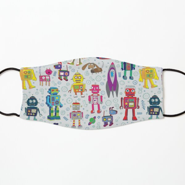 Robots in Space - grey - fun Robot pattern by Cecca Designs Kids Mask