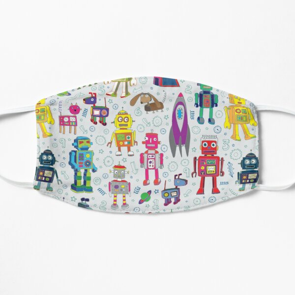 Robots in Space - grey - fun Robot pattern by Cecca Designs Flat Mask