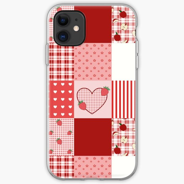 Valentine's Red and White Patchwork iPhone Soft Case
