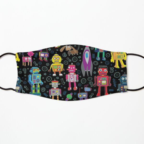 Robots in Space - black - fun pattern by Cecca Designs Kids Mask